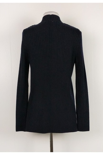 Tory Burch Navy Ribbed Suede Sweater