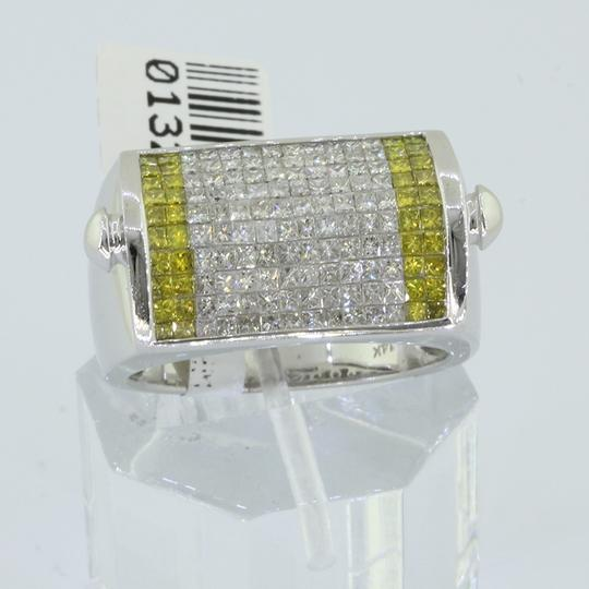 Avianne & Co Men 14k Solid White Gold Invisible Set Princess Cut Diamond Ring