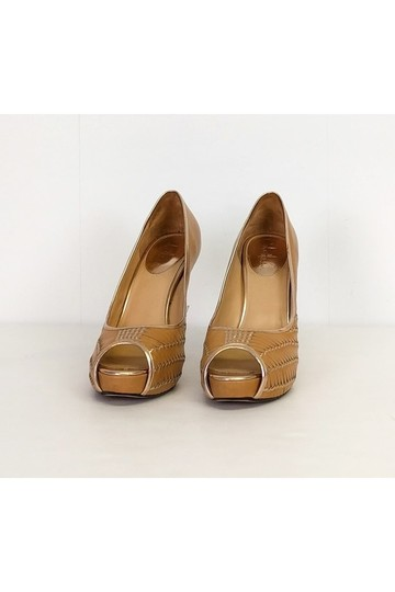 Cole Haan Woven Heels Tan Pumps