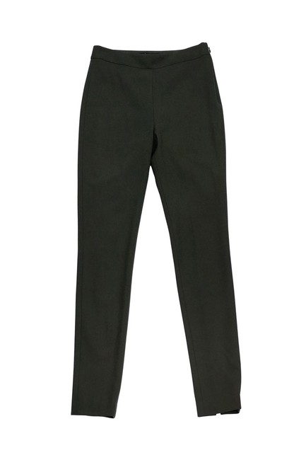Theory Olive Wool Skinny Pants Green