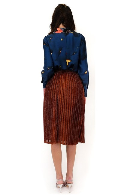 Essue Glamorous In Glitter Pleated Skirt orange