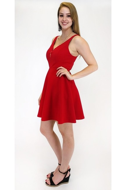 She + Sky short dress red Radiant Rouge Textured on Tradesy
