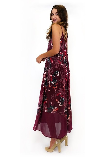 Maxi Dress by Sugarlips Burgundy Bouquet Floral Maxi