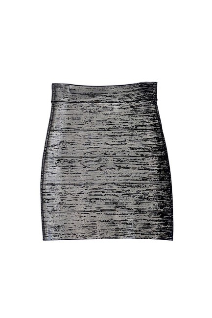 BCBGMAXAZRIA Metallic Bandage Skirt Black