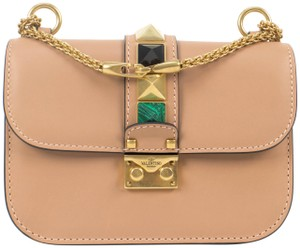 Valentino Leather Glam Lock Small Chain Made In Italy Shoulder Bag