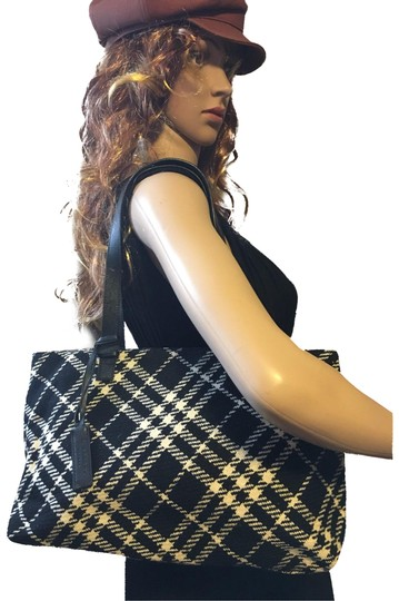 Preload https://item3.tradesy.com/images/burberry-tartan-black-and-white-wool-leather-tote-23175457-0-1.jpg?width=440&height=440
