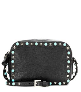 Valentino Leather Rockstud Turquoise Stone Detachable Strap Studded Cross Body Bag