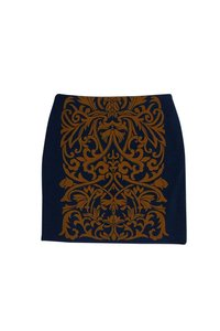 J. McLaughlin Blue Tan Print Skirt