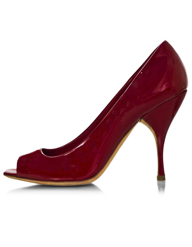 701aeee217 Miu Miu Red Patent Open-toe Pumps Size EU 35.5 (Approx. US 5.5 ...