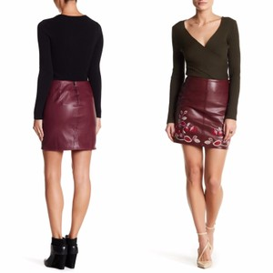 Romeo & Juliet Couture Embroider Floral Leather Party Night Out Mini Skirt maroon