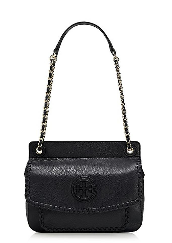 d37763fc8508 Tory Burch Marion Small Saddle Black Leather Shoulder Bag - Tradesy