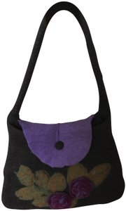 Rising Tide Tote in Dark grey with flowers