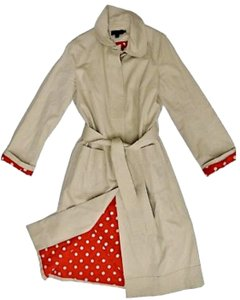Boden Cotton Red Polka Dot Trench Coat