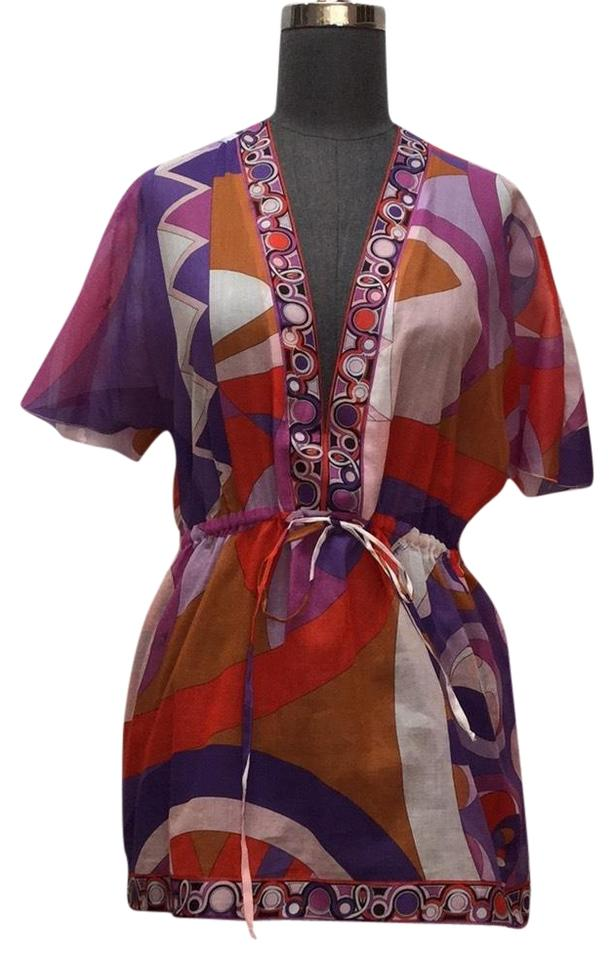 ed2899e1569 Emilio Pucci Purple Multi / Red/ Rust/ White Multi/ Red/ Rust/ Abstract  Printed Cotton Voile Cover-up/Sarong