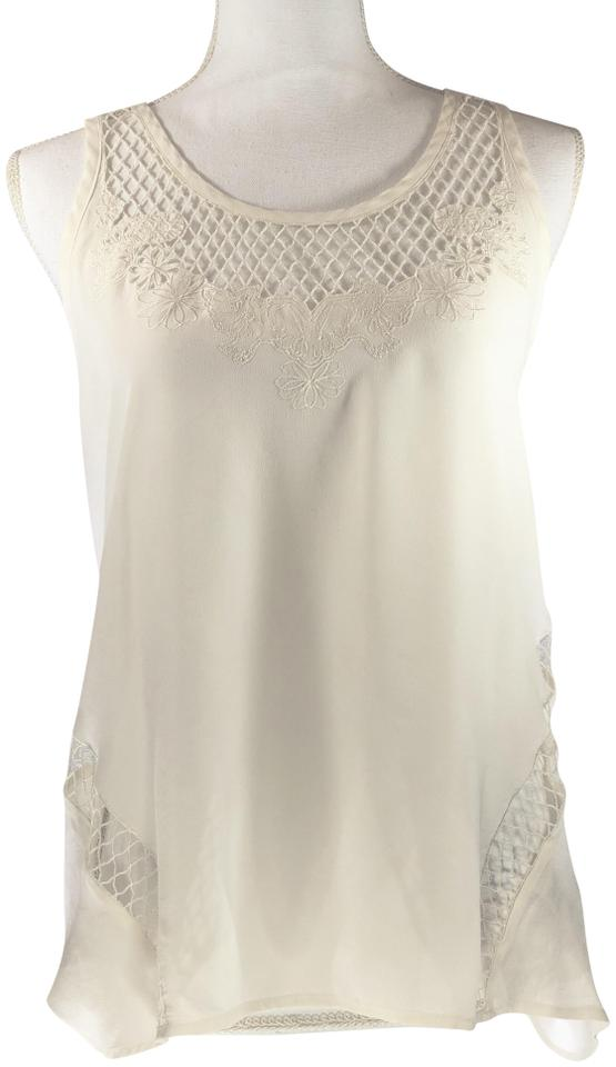 51575e9acc6 Rebecca Minkoff Ivory White Nwot Silk Floral Embroidered Cutout Tank Top  Cami