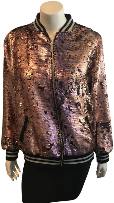 Item - Pink 81318 Nwd Pailette Sequin Bomber Jacket Size 4 (S)