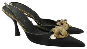 Chanel Camellia Flower Canvas Pointed Toe black Mules