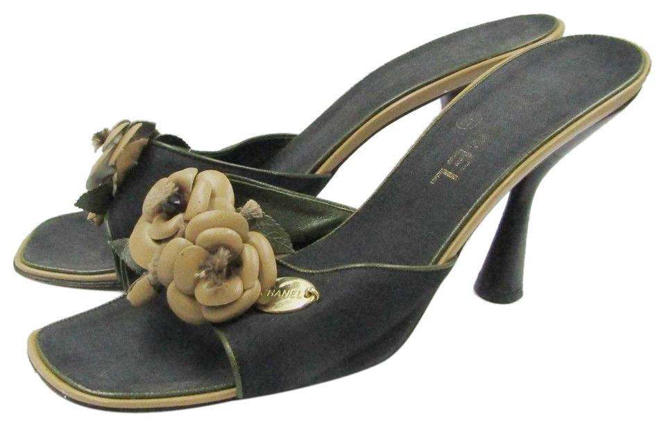 85e5af8f734 Chanel Black Canvas Mules Heels Camellia Flowers Beige Sandals Size ...