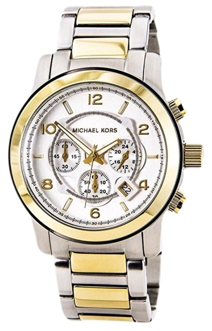 Item - Silver Gold Runway Oversized Chronograph Two Tone Unisex Mk8283 Watch