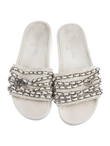 Chanel Mules Slides Tweed Chain White Sandals