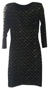 7ea2e777716 Brian Lichtenberg short dress Black and Gold Glitter Velvet Vegas Mini on  Tradesy
