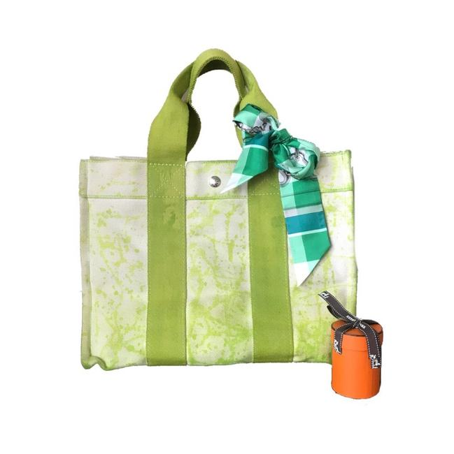 Item - Mm Custom Painted with Twilly Off-white Lime Green Canvas Tote