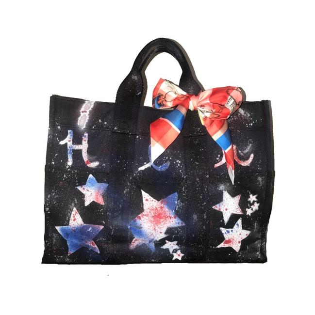 Item - Fourre Tout W Mm Custom Painted W/ Twilly Red White & Blue Canvas Tote
