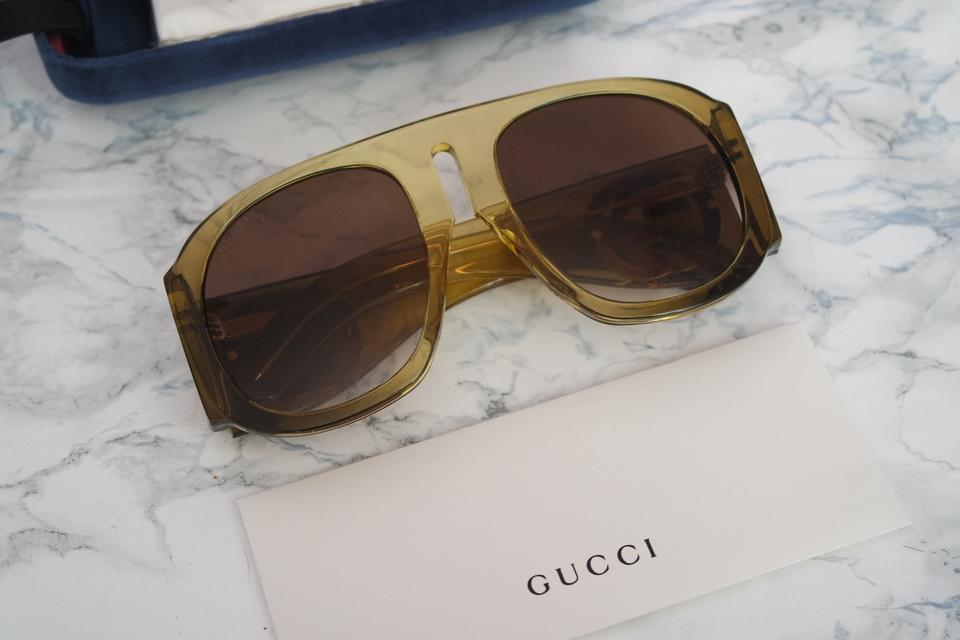 1ddb121318a Gucci Olive Green New Gg0152s Oversized Aviator Thick Leg Sunglasses ...