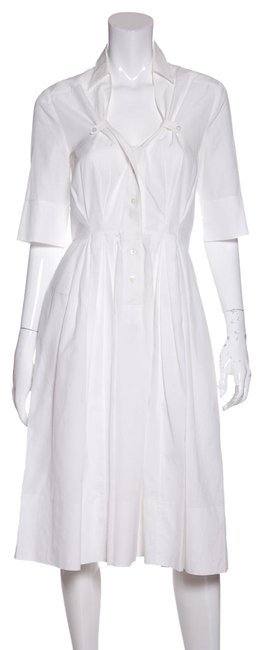 Item - White Pleated Cotton Short Casual Dress Size 10 (M)