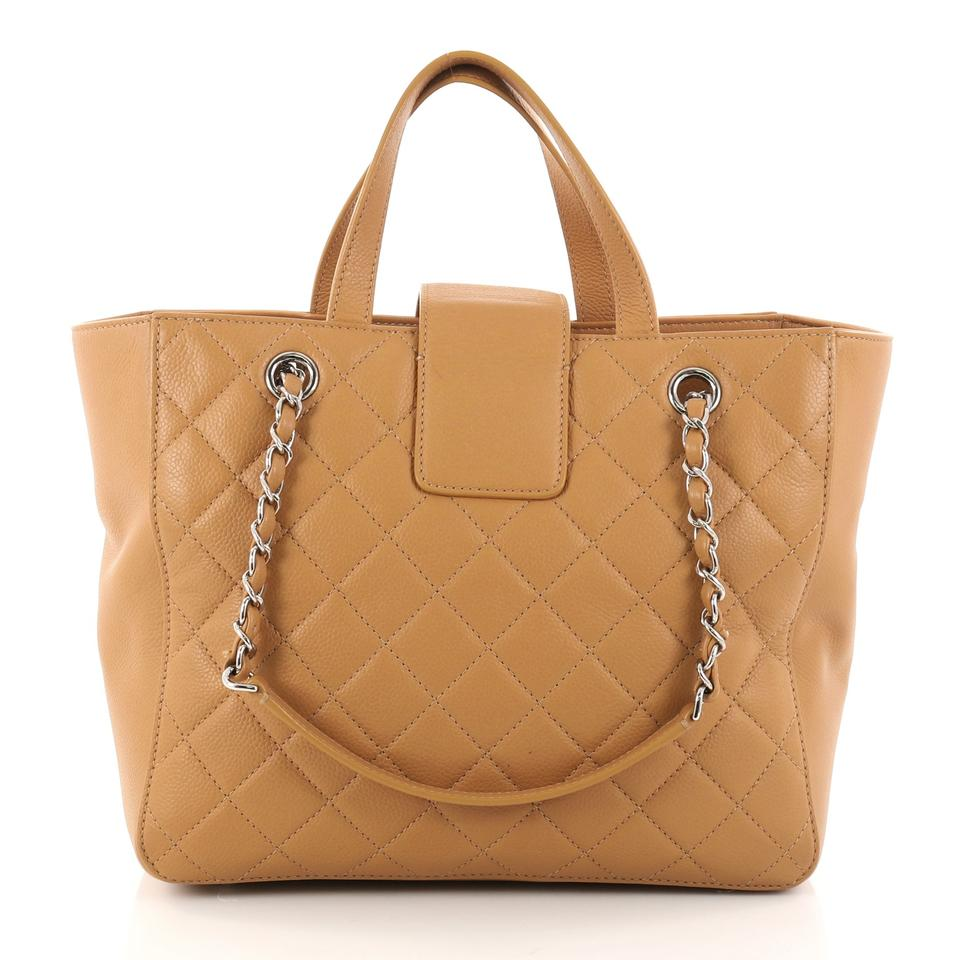 0a8fa38145b9 Chanel Shopping Tote Cc Box Quilted Small Camel Caviar Leather Shoulder Bag  - Tradesy