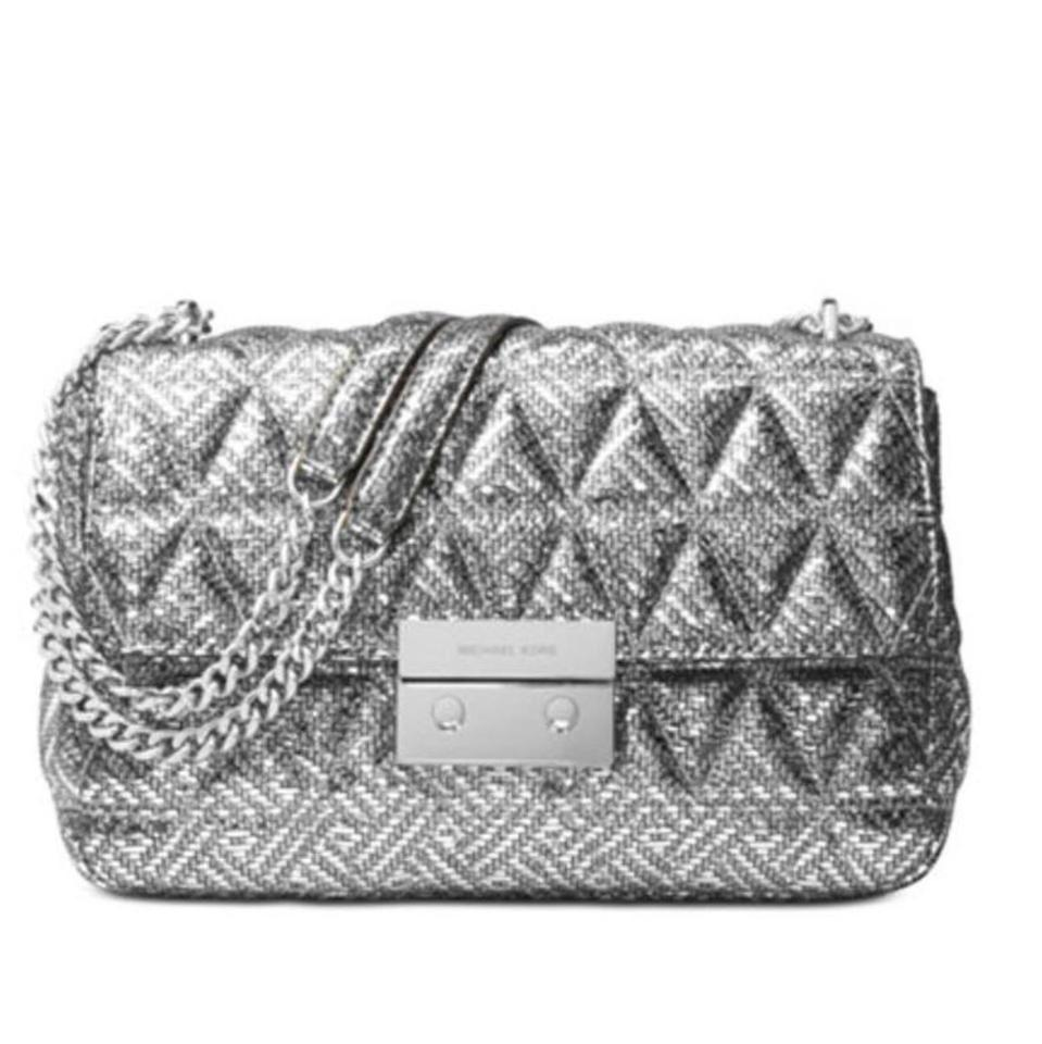 b2ffb2d2abef MICHAEL Michael Kors With Tag Attached Silver Leather Shoulder Bag ...