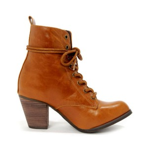 Chelsea Crew Ankle Lace-up Heeled Blogger Favorite Tan Boots