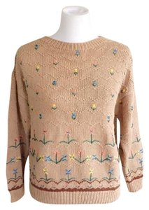 Saks Fifth Avenue Cotton Floral Vintage Winter Dryclean Only Sweater