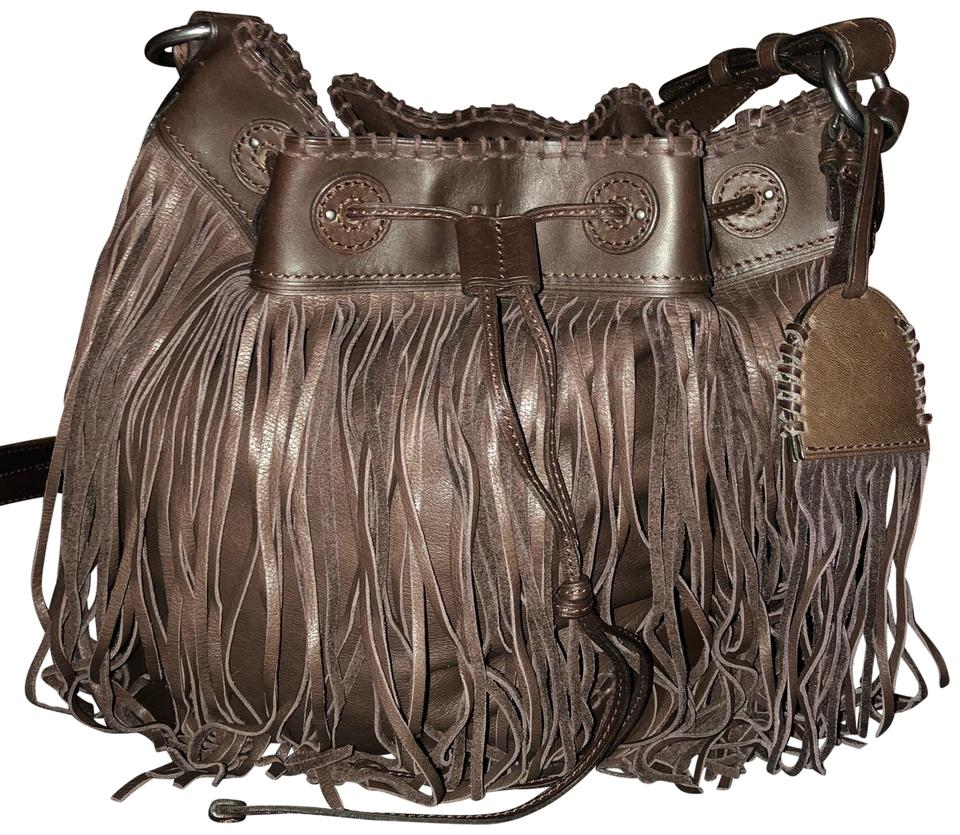 bfbc3f9c73 Ralph Lauren Collection Fringe Bucket Brown Nappa Leather Hobo Bag ...