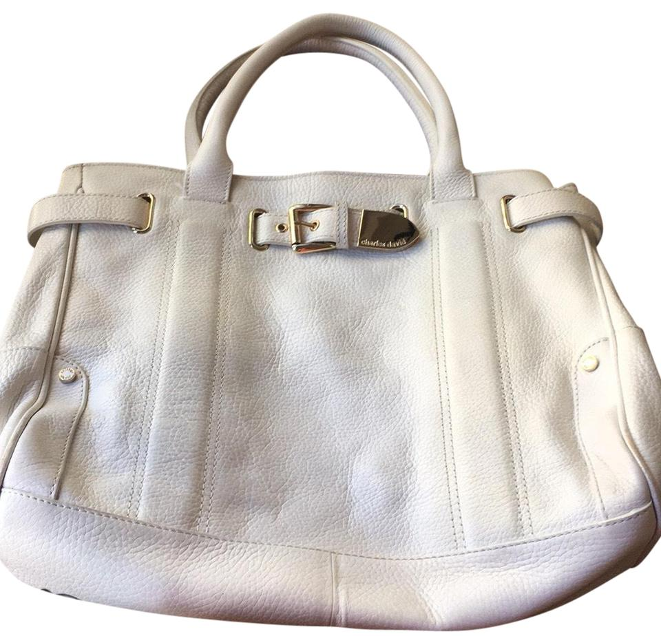 Charles David Handbags Leather Satchel In White