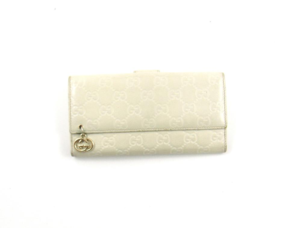 Gucci White Gg Guccissima Embossed Logo Leather Long ...