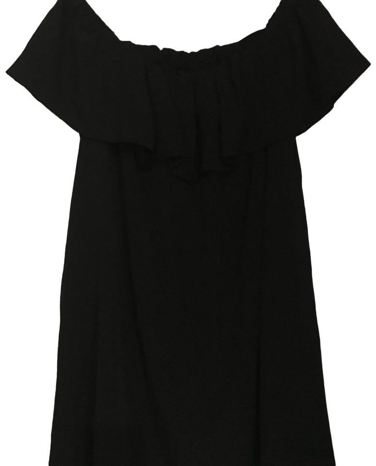 c830a6b35d0fe6 French Connection Black Silk Off Shoulder Top Ruffle Short Casual ...