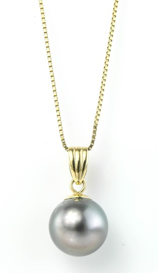 Tahitian Pearl Necklace Round Black / AA+Tahitian Pearl Gold Necklace Image 2