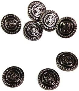 Chanel Chanel metal set 8 buttons, black/silver, 20 mm