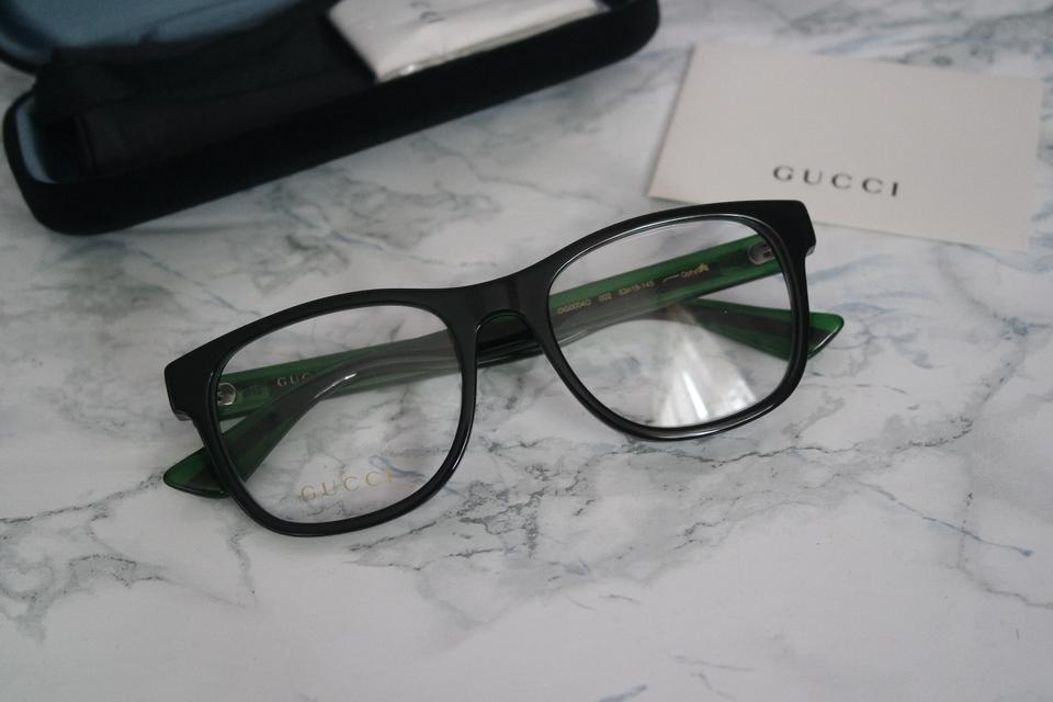 a6aaa1caf63 Gucci NEW Gucci GG0004O Black Square Green Red Leg Striped Eyeglasses  Frames Image 9. 12345678910. 1 ∕ 10