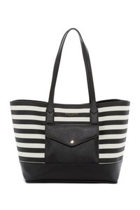 Marc Jacobs Saffiano Leather And # M0011754 Tote in Black/White Stripe