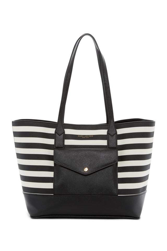Marc Jacobs Saffiano Leather And M0011754 Tote In Black White Stripe
