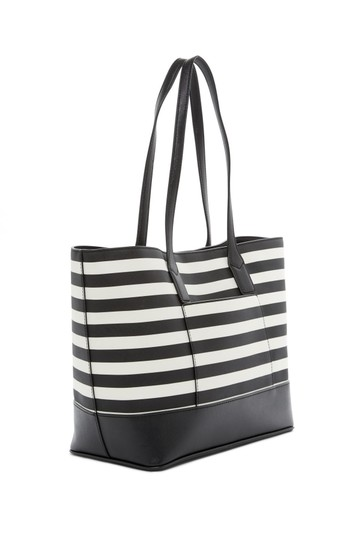 Marc Jacobs Saffiano Leather And # M0011754 Tote in Black/White Stripe Image 1