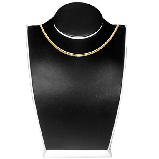 Top Gold & Diamond Jewelry 14K Yellow Gold 2.5mm Reversible Omega Necklace - 18