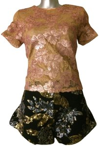 Blumarine Lacesequins Silk Sparkle Tops Top Champagne Gold