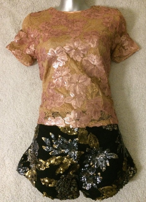 Blumarine Lacesequins Silk Sparkle Tops Top Champagne Gold Image 1