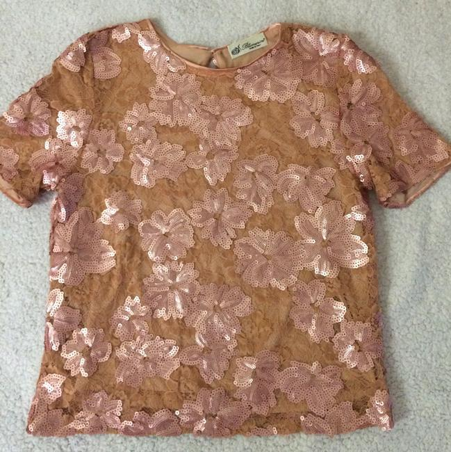 Blumarine Lacesequins Silk Sparkle Tops Top Champagne Gold Image 4