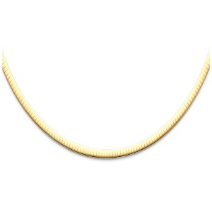 Top Gold & Diamond Jewelry 14K Yellow Gold 4mm Reversible Omega Necklace - 16