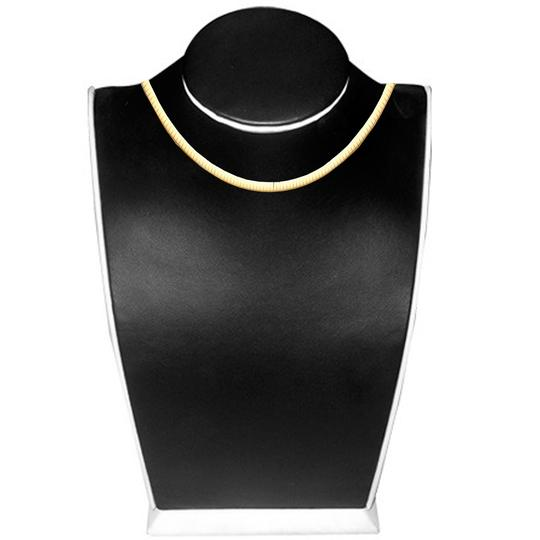 Top Gold & Diamond Jewelry 14K Yellow Gold 4mm Reversible Omega Necklace - 18