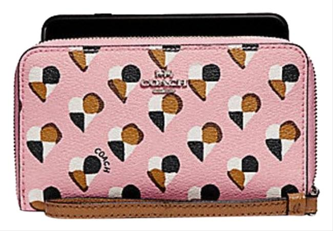 Coach Blush Pink Phone with Checker Heart Print F25963 Wallet Coach Blush Pink Phone with Checker Heart Print F25963 Wallet Image 1